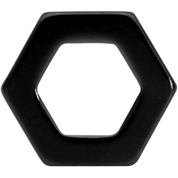 Black Geometric Hexagon Double Flare Tunnel Plug Set 3mm to 25mm