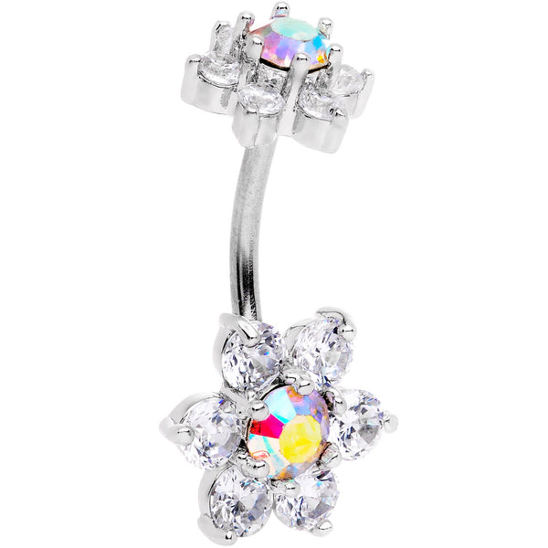 Clear Aurora CZ Gem Double Flower Delight Double Mount Belly Ring