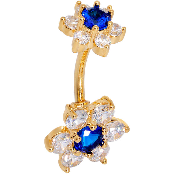 Blue Clear CZ Gem Gold Tone Double Flower Delight Double Mount Belly Ring