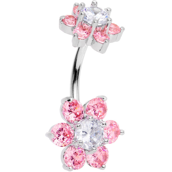 Clear Pink CZ Gem Double Flower Delight Double Mount Belly Ring