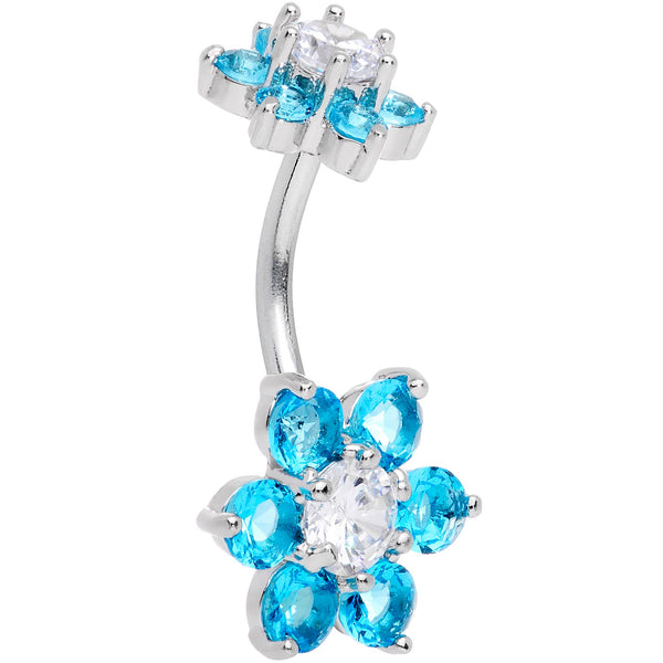 Aqua Clear CZ Gem Double Flower Delight Double Mount Belly Ring