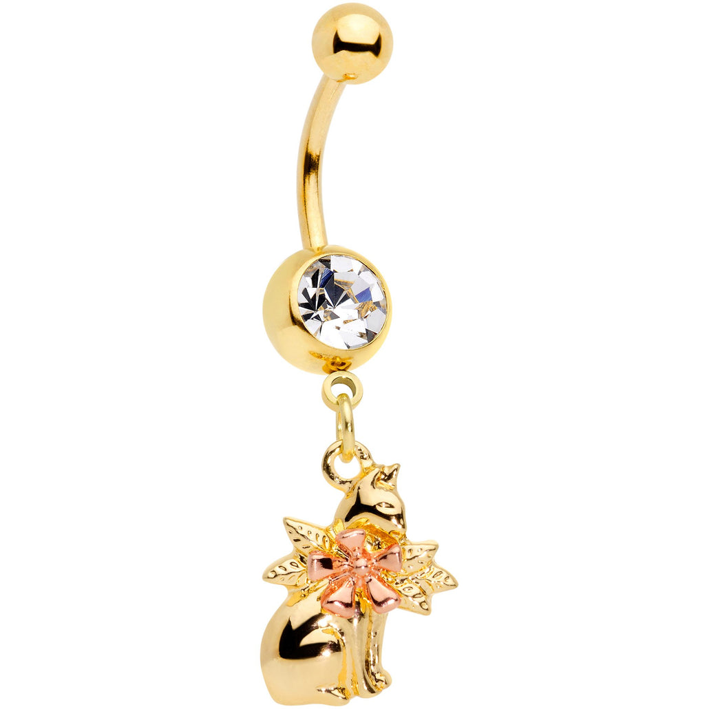 Clear Gem Gold Tone Kitty With A Corsage Dangle Belly Ring