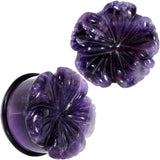 Purple Amethyst Stone Tropical Flower Single Flare Plug Set 6mm to 25mm