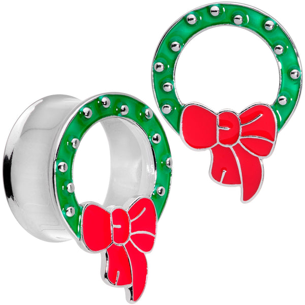 Christmas Wreath Double Flare Tunnel Plug Set 2 Gauge to 1 Inch