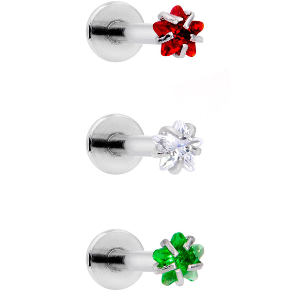 16 Gauge 3/8 Red Green CZ Gem Holiday Star Labret Tragus Set of 3