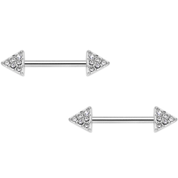 14 Gauge 9/16 Clear Gem Triangle End Barbell Nipple Ring Set of 4