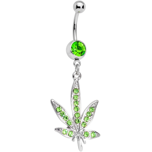 Green Gem 420 Somewhere Marijuana Dangle Belly Ring