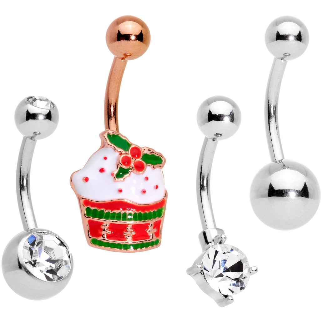 Clear Gem Rose Gold Tone Red Holiday Cupcake Belly Ring Set of 4
