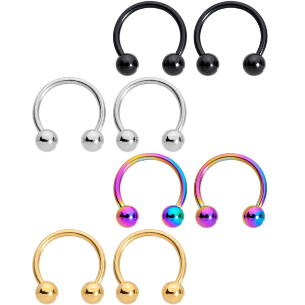 16 Gauge 3/8 Color Variety Horseshoe Curved Barbell Set of 8