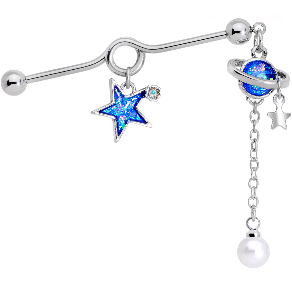 clear gem blue glitter saturn star dangle project barbell 38mm  u2013 bodycandy