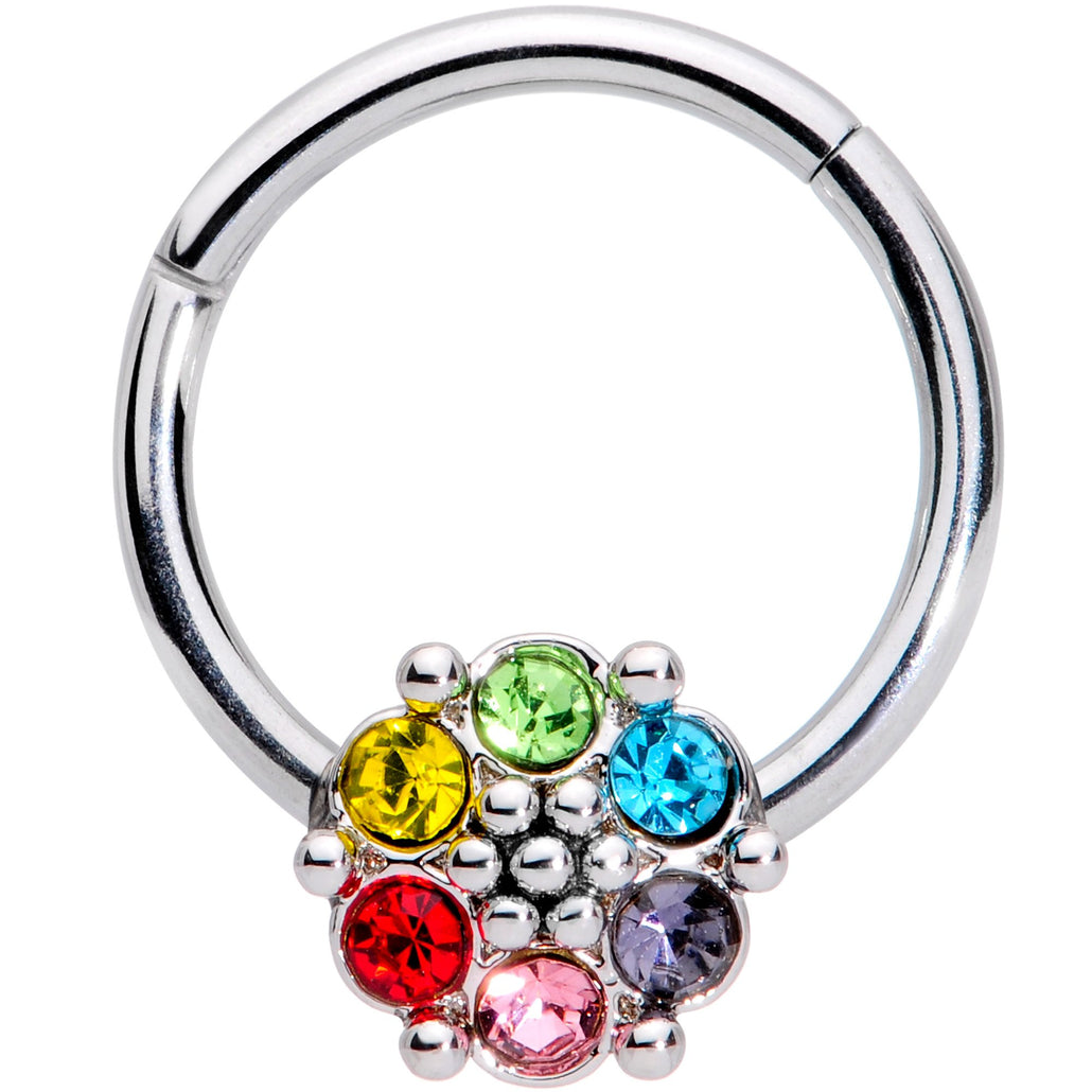 "16 Gauge 3/8"" Multicolor Gem Rainbow Flower Hinged Segment Ring"