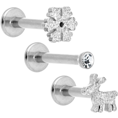 "16 Gauge 5/16"" Gem Winter Holiday Cartilage Tragus Earring Set of 3"