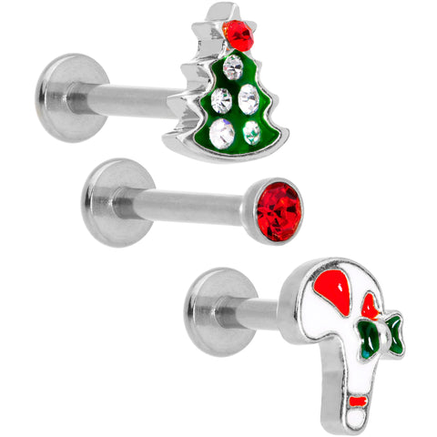"16 Gauge 5/16"" Gem Holiday Cartilage Tragus Earring Set of 3"