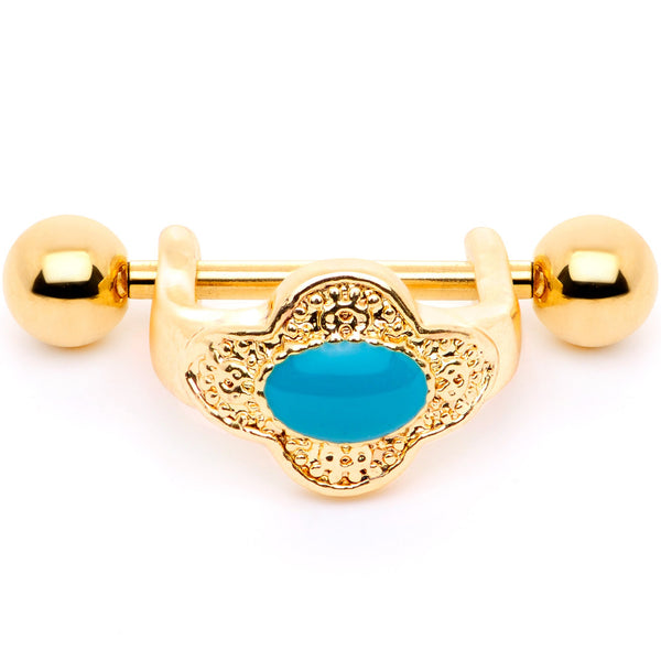 16 Gauge 1/2 Faux Turquoise Gold Tone Flower Cartilage Cuff