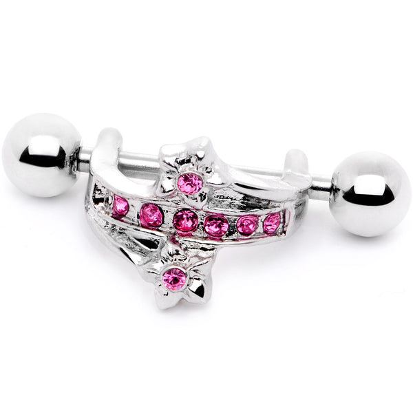 16 Gauge 1/2 Pink Gem Cross Crown Cartilage Cuff