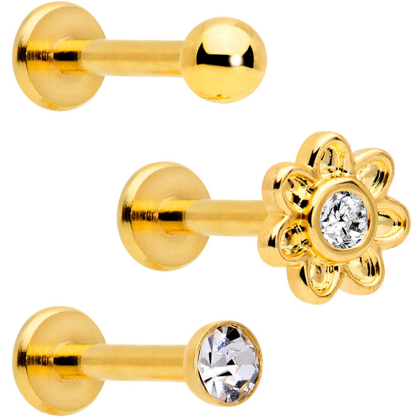 16 Gauge Clear Gem Gold Tone Internally Threaded Rose Flower Labret Set