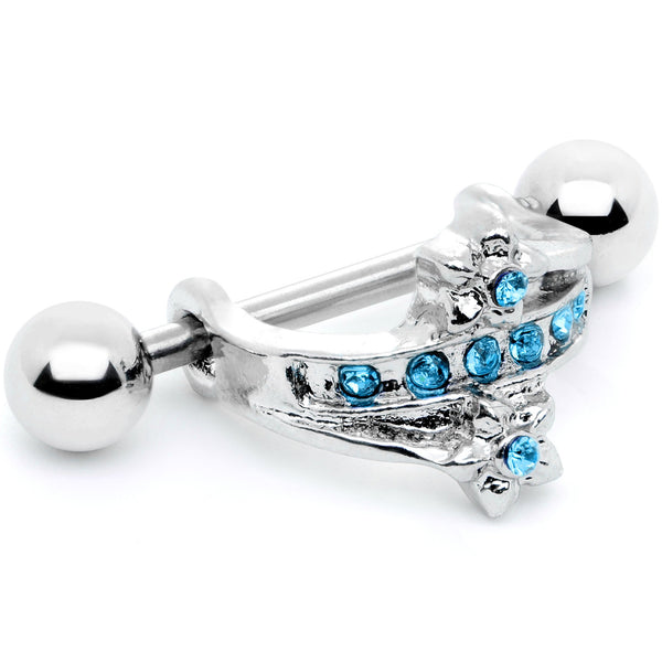 16 Gauge 1/2 Blue Gem Cross Crown Cartilage Cuff