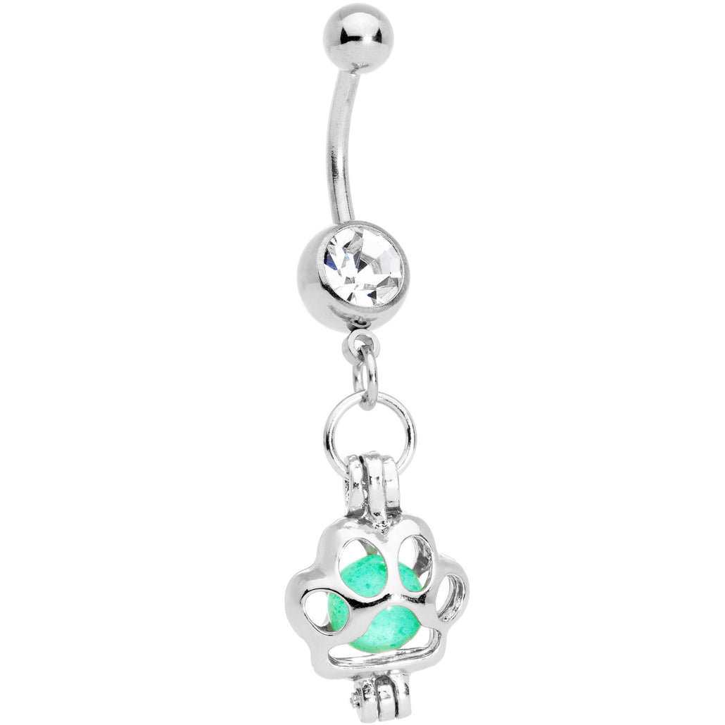 Clear Gem Glow in the Dark Paw Print Dangle Belly Ring