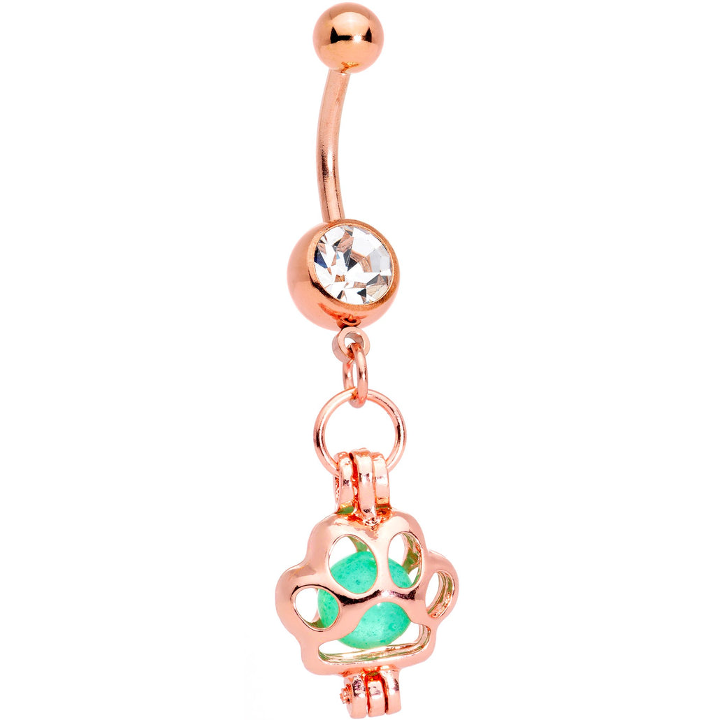 Clear Gem Rose Gold Tone Glow in the Dark Paw Print Dangle Belly Ring