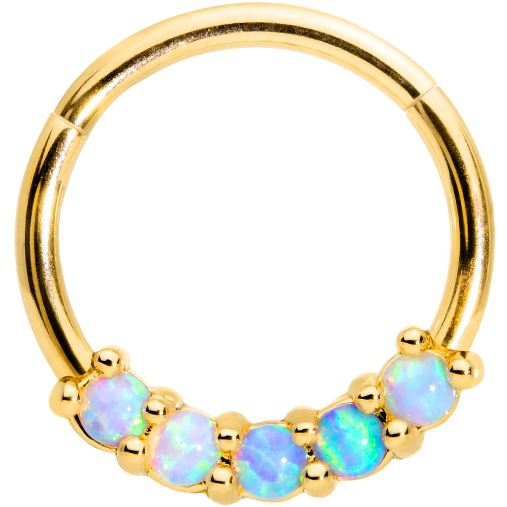 16 Gauge 3/8 Five Synthetic Opal Gold Tone Hinged Segment Ring