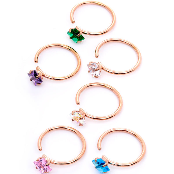 20 Gauge 5/16 Pastel Gem Rose Gold Tone Nose Hoop Set of 6