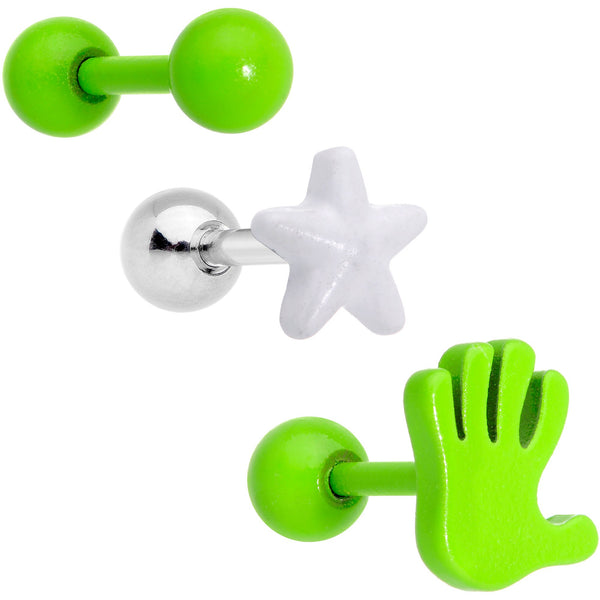 16 Gauge 1/4 Green White Glow Star Hand Cartilage Earring Set of 3