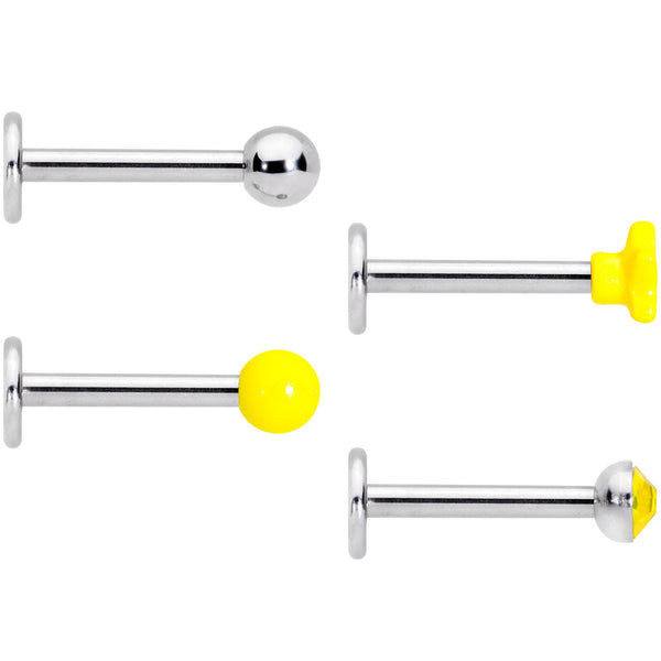 16 Gauge 3/8 Yellow Gem Star Glow Internally Threaded Labret Set of 4