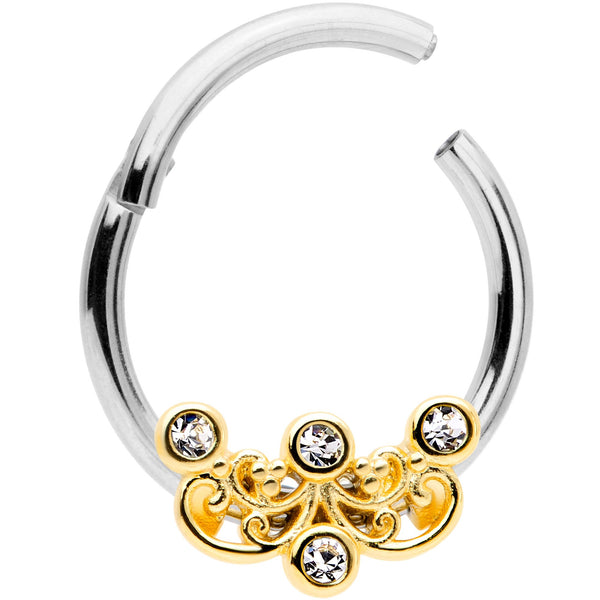16 Gauge 3/8 Clear CZ Gem Abstract Scrolls Hinged Septum Segment Ring