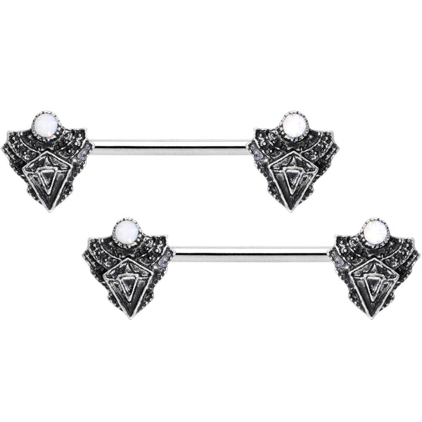 14 Gauge 9/16 White Faux Opal Retro Triangle Barbell Nipple Ring Set