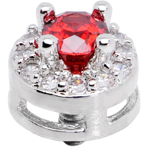 14 Gauge Clear Red CZ Two Tier Externally Threaded Dermal Anchor Top