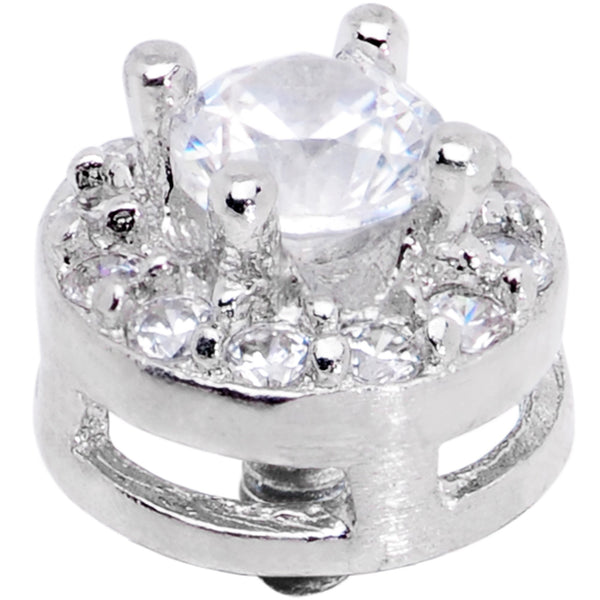 14 Gauge Clear CZ Gem Two Tier Externally Threaded Dermal Anchor Top
