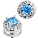 14 Gauge Light Blue CZ Two Tier Externally Threaded Dermal Anchor Top