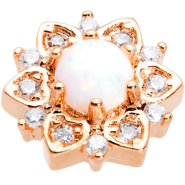 14 Gauge White Faux Opal Rose Gold Tone Floral Glam Dermal Anchor Top