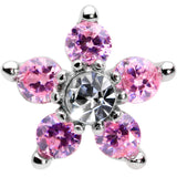 16 Gauge 5/16 Clear Pink CZ Gem Star Internally Threaded Labret Tragus
