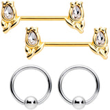 14 Gauge Clear Gem Gold Tone Flowers BCR Barbell Nipple Ring Set