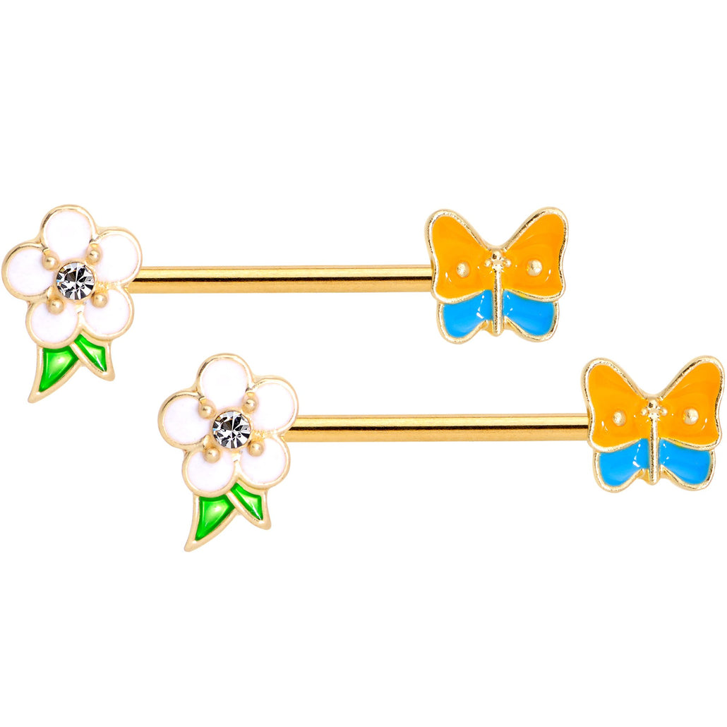 14 Gauge Gold Tone Spring Butterfly Flower Barbell Nipple Ring Set