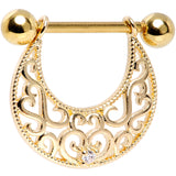 14 Gauge 9/16 Clear CZ Gem Gold Tone Abstract Heart Nipple Shield Set
