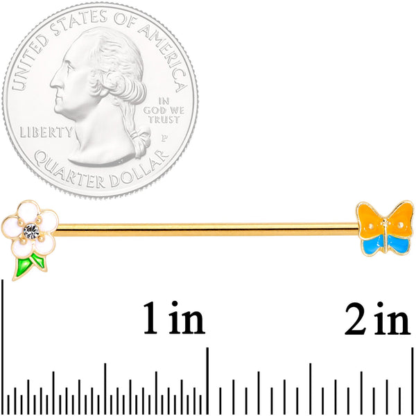 14 Gauge Multicolor Gold Tone Butterfly Flower Industrial Barbell 38mm