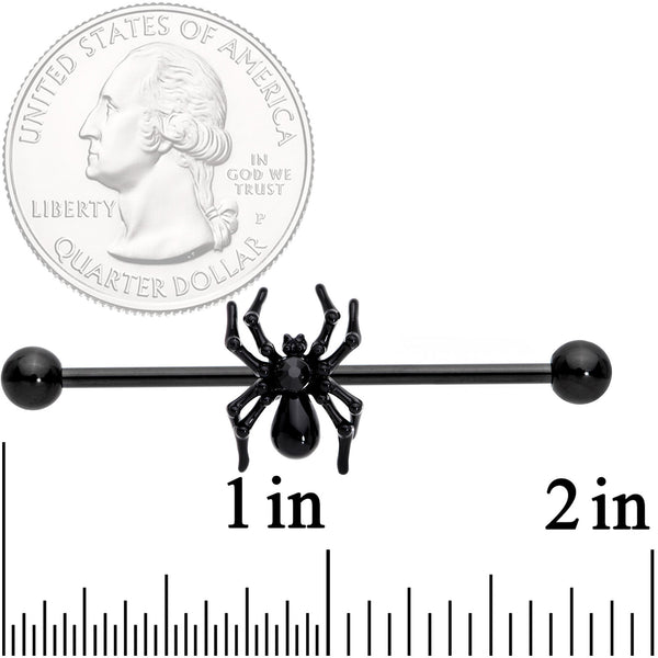 14 Gauge Black Gem Black Creepy Critter Spider Industrial Barbell 38mm