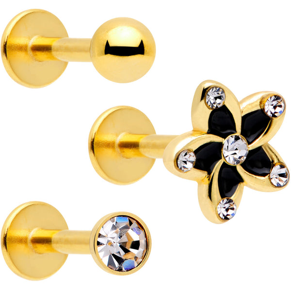16 Gauge 5/16 Clear Gem Gold Tone Black Flower Labret Set of 3