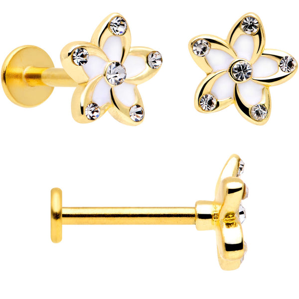 16 Gauge 5/16 Clear Gem Gold Tone White Flower Labret Set of 3