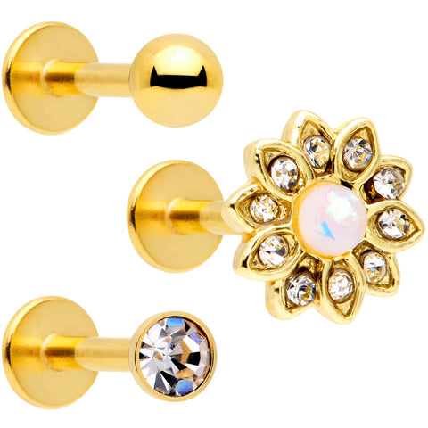 Body Candy Stainless Steel Mother of Pearl Lotus Flower Screw Fit Ear Gauge Plug Set of 2 5mm to 20mm
