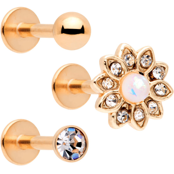 16 Gauge 5/16 White Faux Opal Rose Gold Tone Flower Labret Set of 3