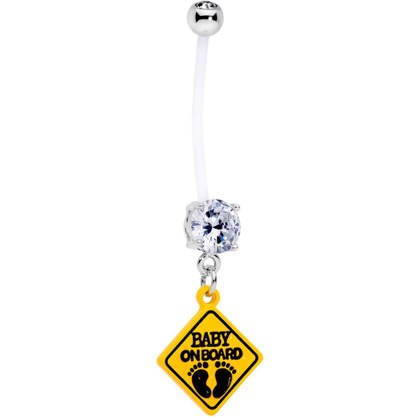 Clear CZ Gem Baby on Board Sign Dangle Pregnancy Belly Ring