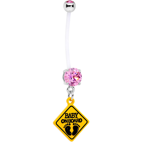 Pink CZ Gem Baby on Board Sign Dangle Pregnancy Belly Ring