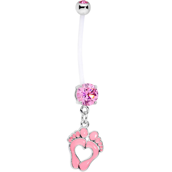 Pink CZ Gem Baby Precious Footprints Dangle Pregnancy Belly Ring