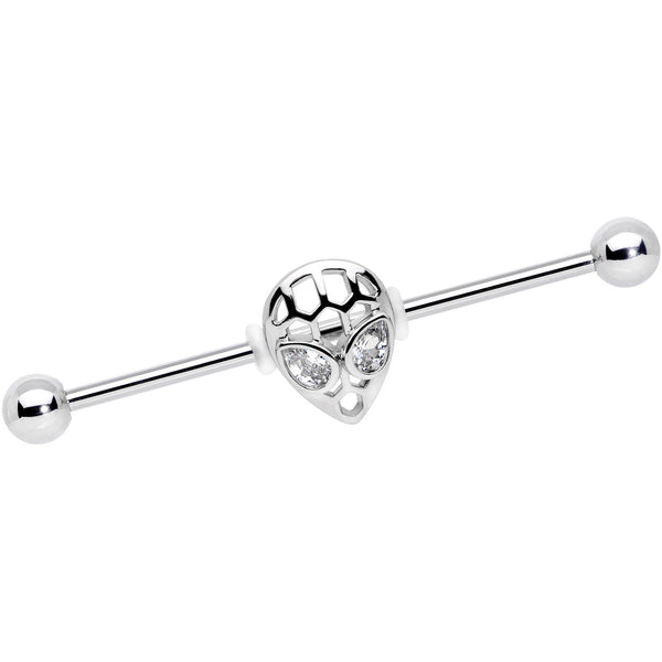 14 Gauge Clear CZ Gem Openwork Alien Industrial Barbell 38mm
