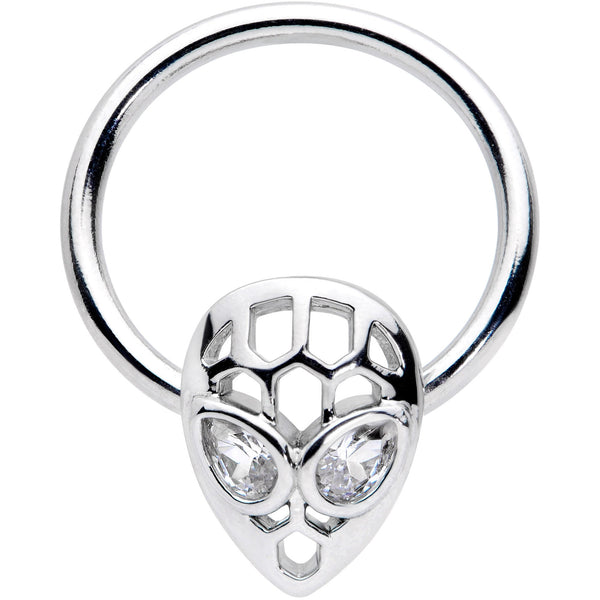 16 Gauge 3/8 Clear CZ Gem Openwork Alien Hinged Segment Ring