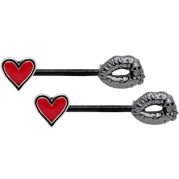 14 Gauge 9/16 Red Heart Black Kiss of Death Barbell Nipple Ring Set