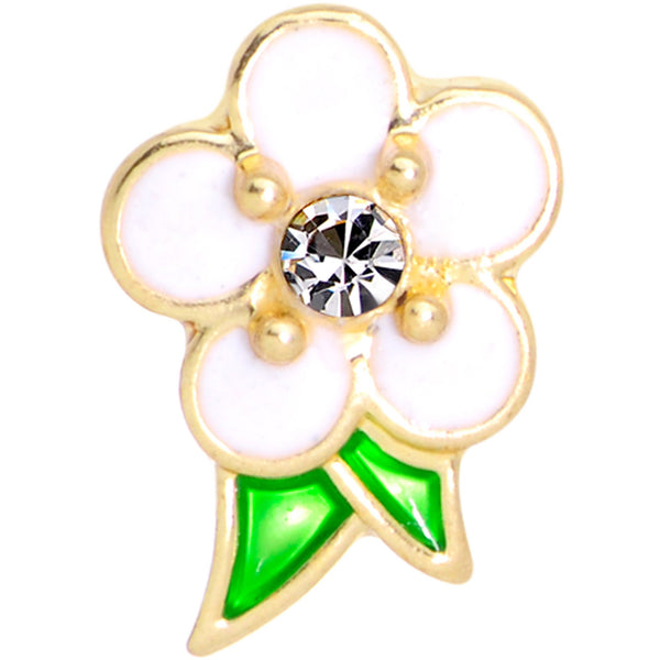 16 Gauge 1/4 Clear Gem Gold Tone White Flower Cartilage Earring